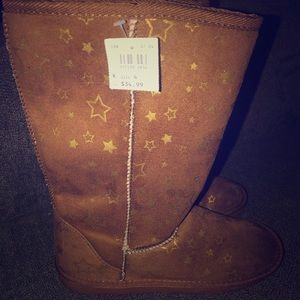 Girls cognac boots with stars
